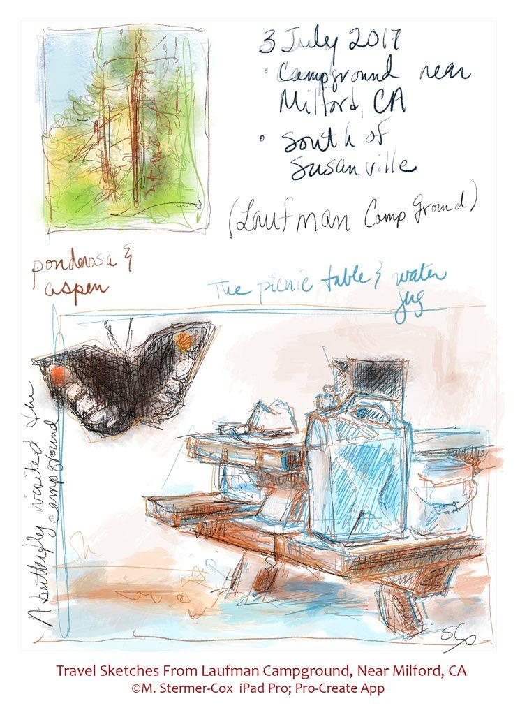 Travel Sketches: Laufman CG, near Milford CA