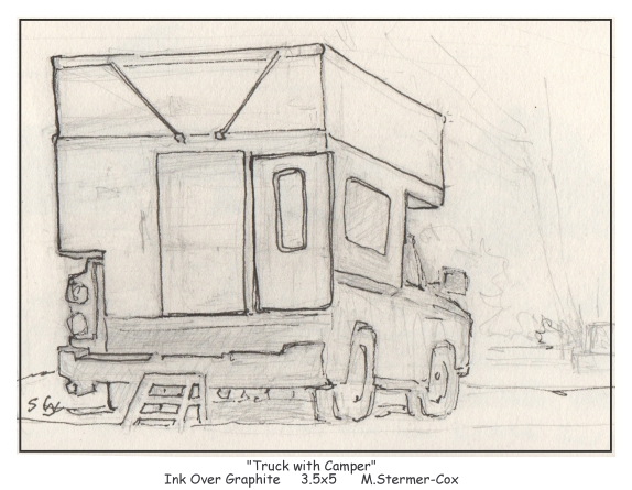Drawing of Truck with Camper by Margaret Stermer-Cox