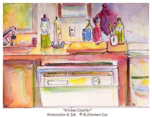 Watercolor Sketch, Kitchen,