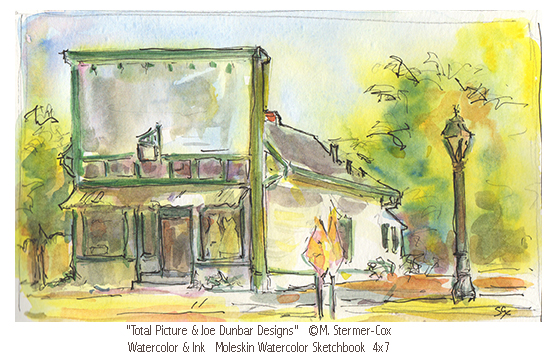 Total Picture & Joe Dunbar Designs, a Watercolor Sketch by Artist Margaret Stermer-Cox
