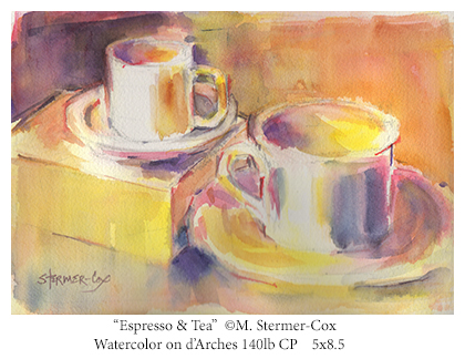 Espresso & Tea, Watercolor by Margaret Stermer-Cox