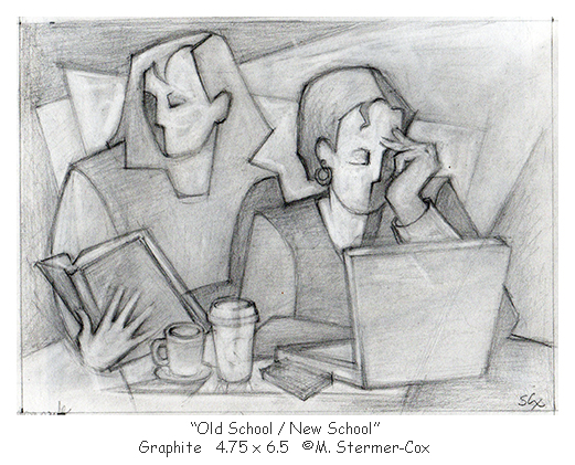 Old School New School, Drawing ©Margaret Stermer-Cox
