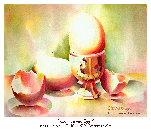 Red Hen And Eggs, color as symbol ©M Stermer-Cox