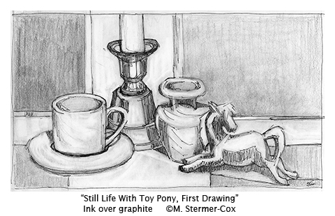 Still Life with Toy Pony - The First Drawing
