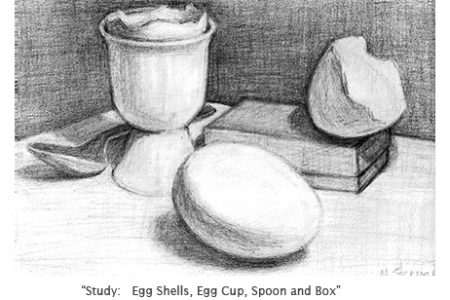 Study, Eggs, Shells, Egg Cup and Spoon (On Being A Student)
