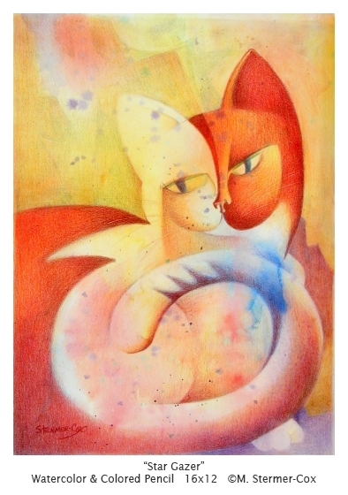 Cubist style Watercolor painting; its a double face cat!