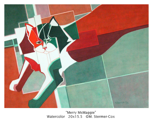 Merry MsMaggie; painting done in Cubist style