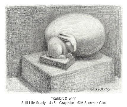 Rabbit & Egg, Still Life by Margaret Stermer-Cox