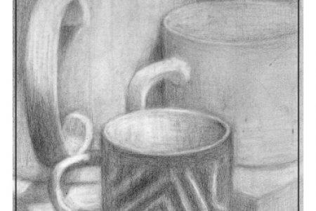 Drawing - Three Coffee Cups