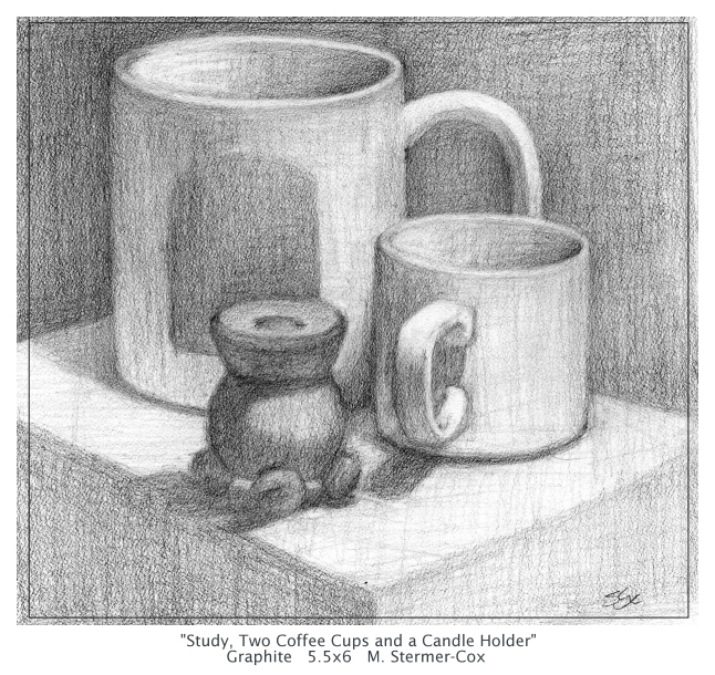 Drawing - Two Cups and A Candle Holder