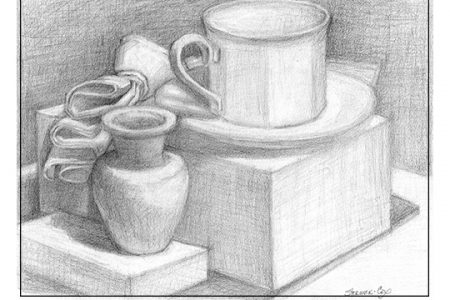 Drawing: Still Life with Coffee Cup & Vase