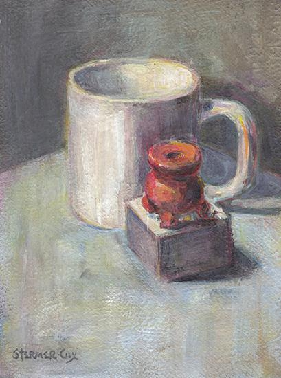 Embracing Gray: Coffee Cup w/ Swedish Candle