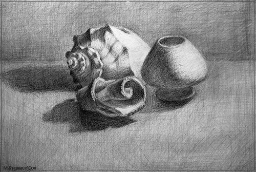 Student Drawing Still Life with Two Broken Seashells and a vase