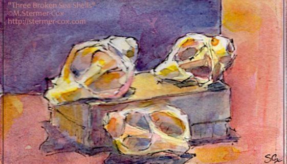 Three Broken Sea Shells; #WorldWatercolorMonth