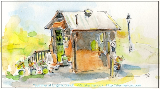 Organic Grind Espresso Kiosk; Watercolor & Ink Demonstration