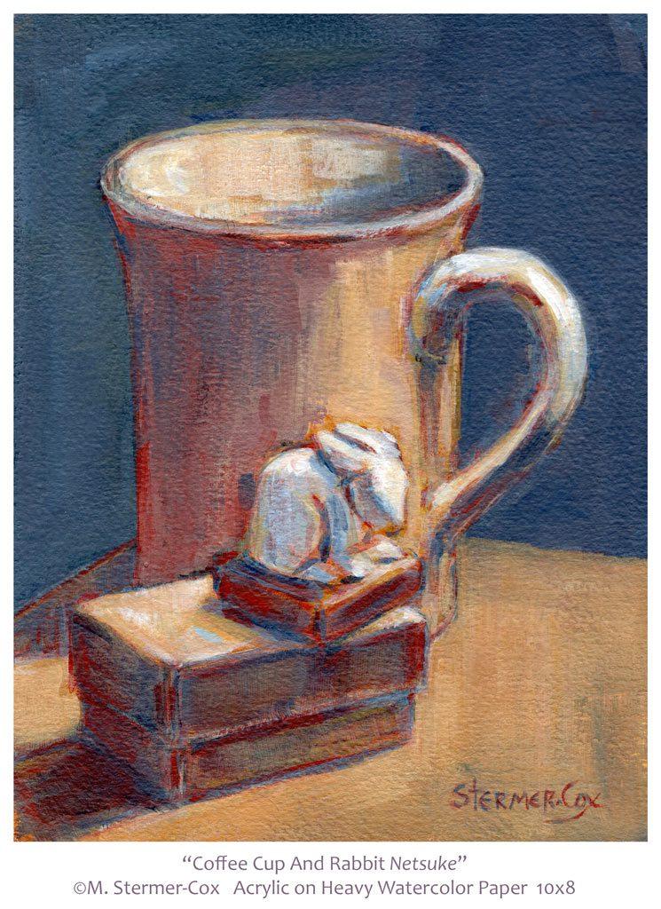 Still Life: Coffee Cup and Rabbit Netsuke