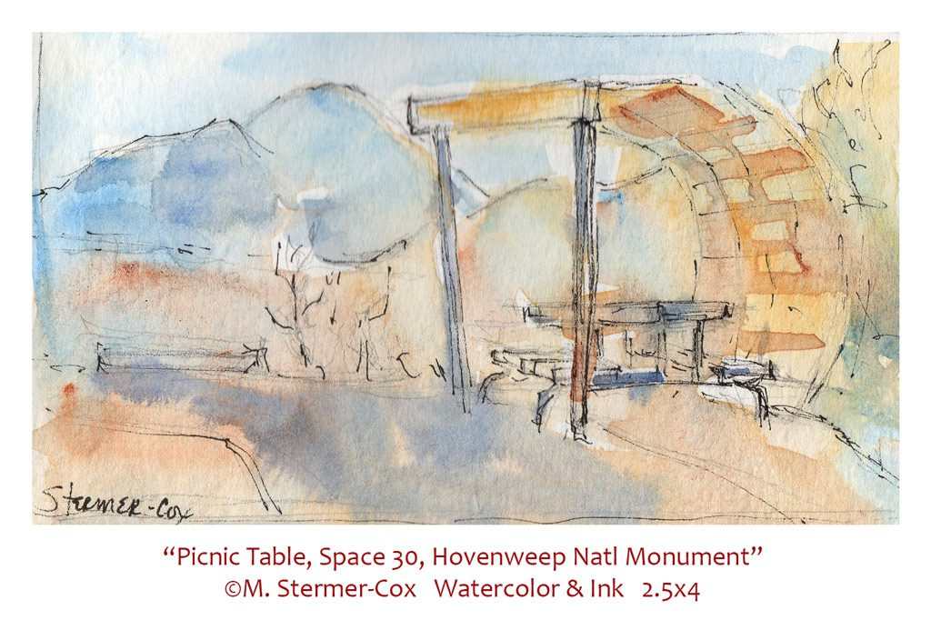 Travel Sketch: Picnic Table, Hovenweep