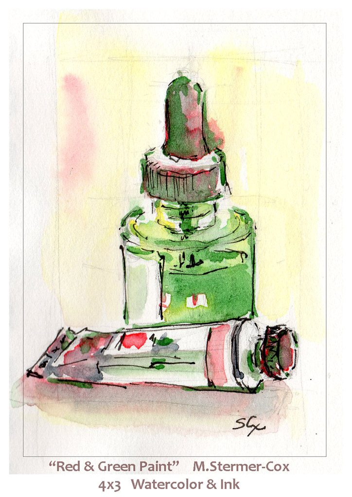 Complementary Color Pair: Red and Green paint