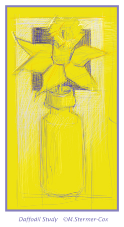 Daffodil, Single Flower Digital Study M.Stermer-Cox Artist