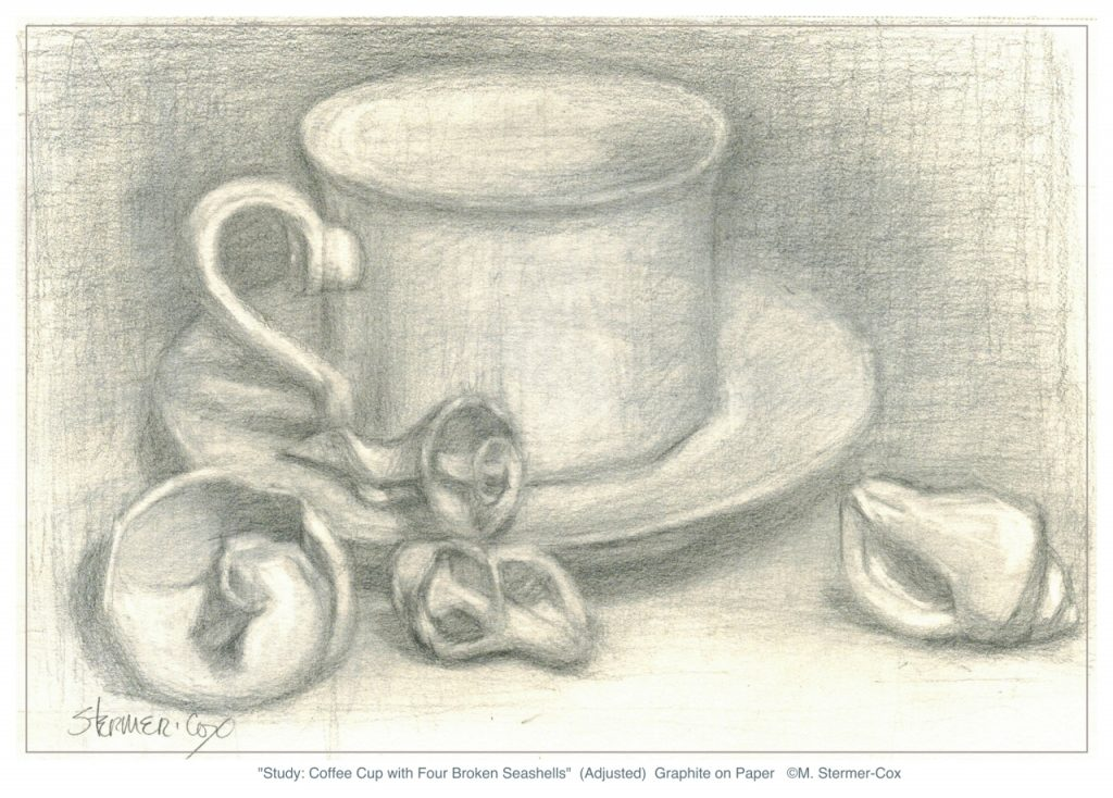 Busy But Still Drawing: Coffee Cup With Broken Seashells