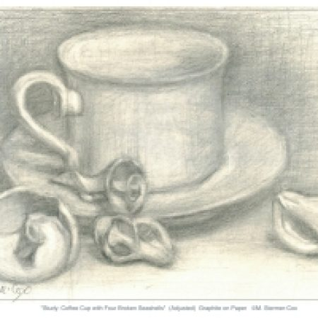 Drawing of a coffee cup with four broken seashells