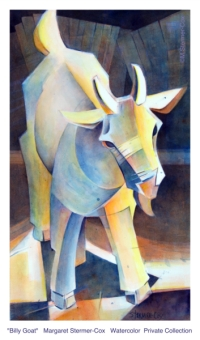 Billy Goat, Watercolor, M. Stermer-Cox