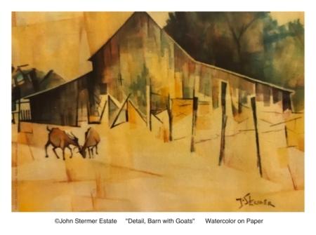 Artist John Stermer: Barn with Dueling Goats