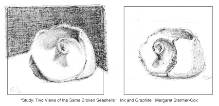 Making Small Studies of broken seashells with ink