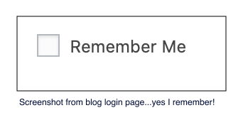 Remember Me? From the blog login page