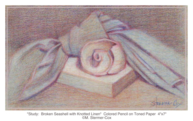 Drawing Or Sketch Broken Seashell with Knotted Napkin