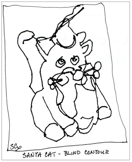 Sketch or Drawing Blind Contour Drawing: Santa Cat