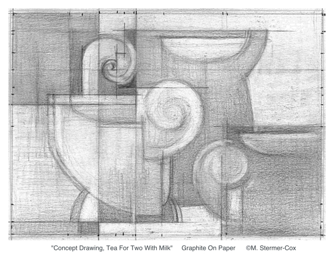Drawing Or Sketch? Concept Drawing Tea For Two With Milk