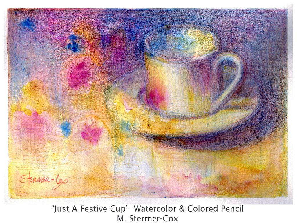Back In Oregon: Study, Just A Festive Cup; watercolor